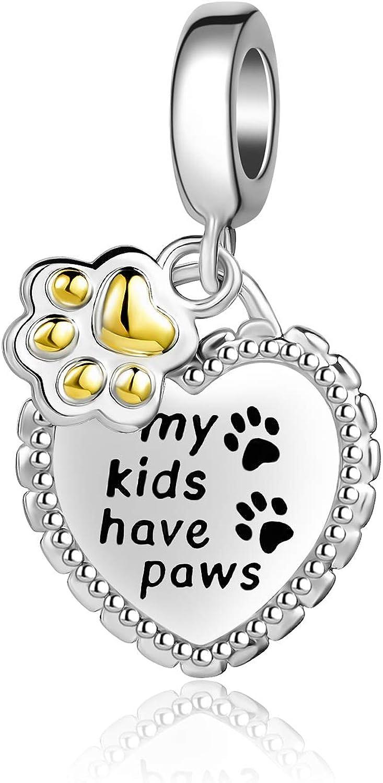 QeenseKc Puppy Paw Print Dangle Charm Pet Lover Gold Bead Graduation Gift for Pandora Bracelets
