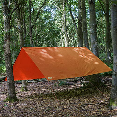 Andes 3m x 3m Tarpaulin - Waterproof, Lightweight, Compact, Strong and Ripstop Tarp for Camping, Orange, Pegs & Guylines Included