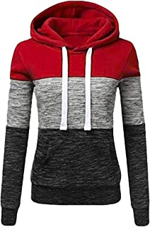Striped Patchwork Blouse for Womens Plus Size Long Sleeve Casual Hooded Sweatshirt Pullover Tops