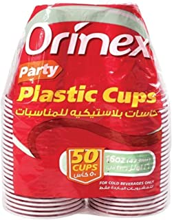 Orinex Party Plastic Cups, 50 Pieces, Multi Color