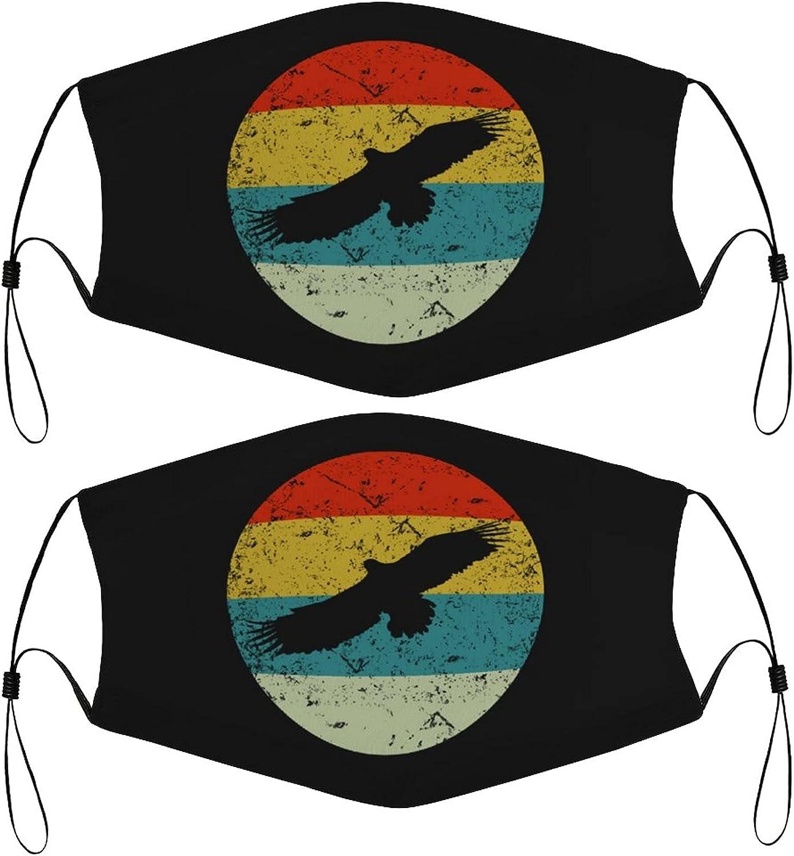 Retro Eagle Kids Face Masks Set of 2 with 4 Filters Washable Reusable Adjustable Black Breathable Cloth Bandanas Scarf for Children Boys Girls