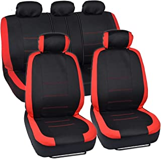 BDK OS-332-RD_AMCAC Venice Series Car Seat Covers for Auto - Red Stripes on Flat Black Cloth - Split Bench Function, Original Cover Protection