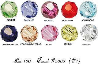 Lot 100 pcs Swarovski ROUND #5000 Crystal Beads 4mm. 10 colors: Crystal, Jonquil, Rose, Lt Colorado Topaz, Purple Velvet, Aquamarine, Lt Siam, ....