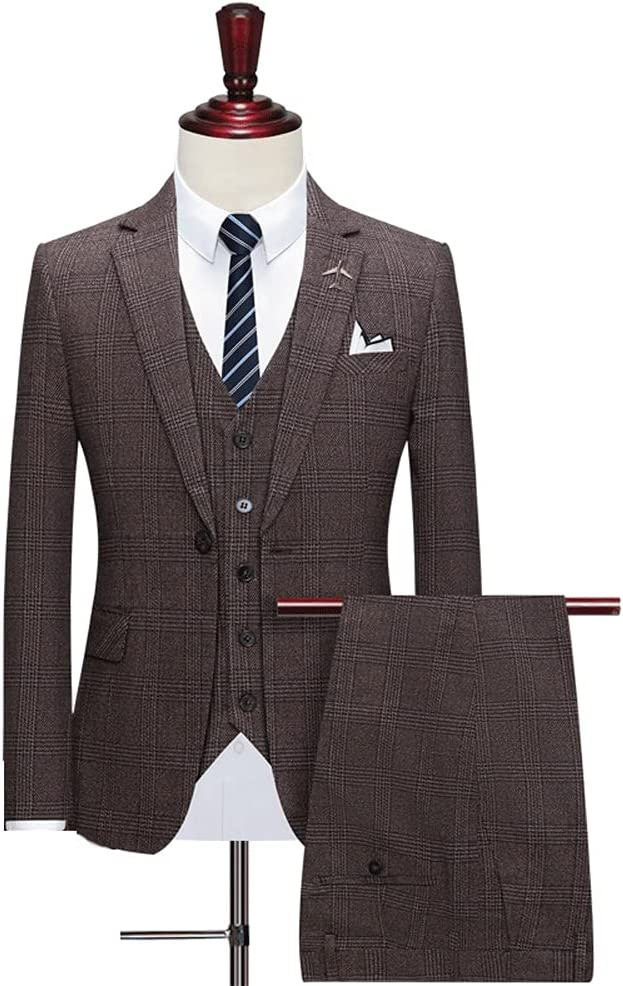 GYZX Men's Suits Groom Wear Tuxedos Custom Made 3-Piece Wedding Suits Slim (Jacket+Pant +Vest) (Color : Brown, Size : XXXL for 75 to 80 kg)