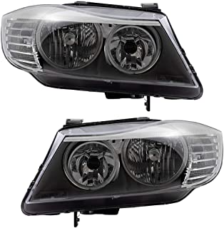 BROCK Pair Headlights Replacement for 2009-2011 BMW 3 Series E90 Driver and Passenger Halogen Headlamps Set 63117202577 63117202578