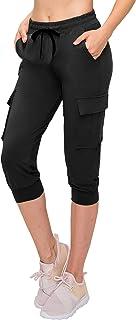 ALWAYS Women's Capri Cargo Joggers - Buttery Soft Ladies Capris Elastic Cargo Pants with Pockets Black 2XL