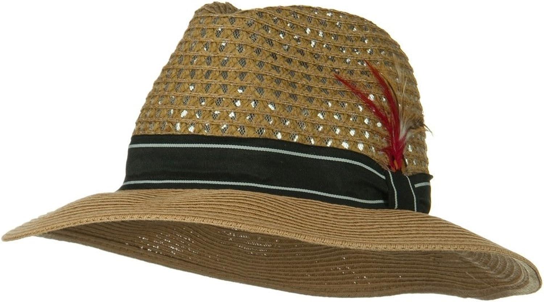 833189d6f94 Jeanne Simmons Men's Large Brim Straw Straw Straw Fedora Hat - Bronze  W19S52C af1fc4