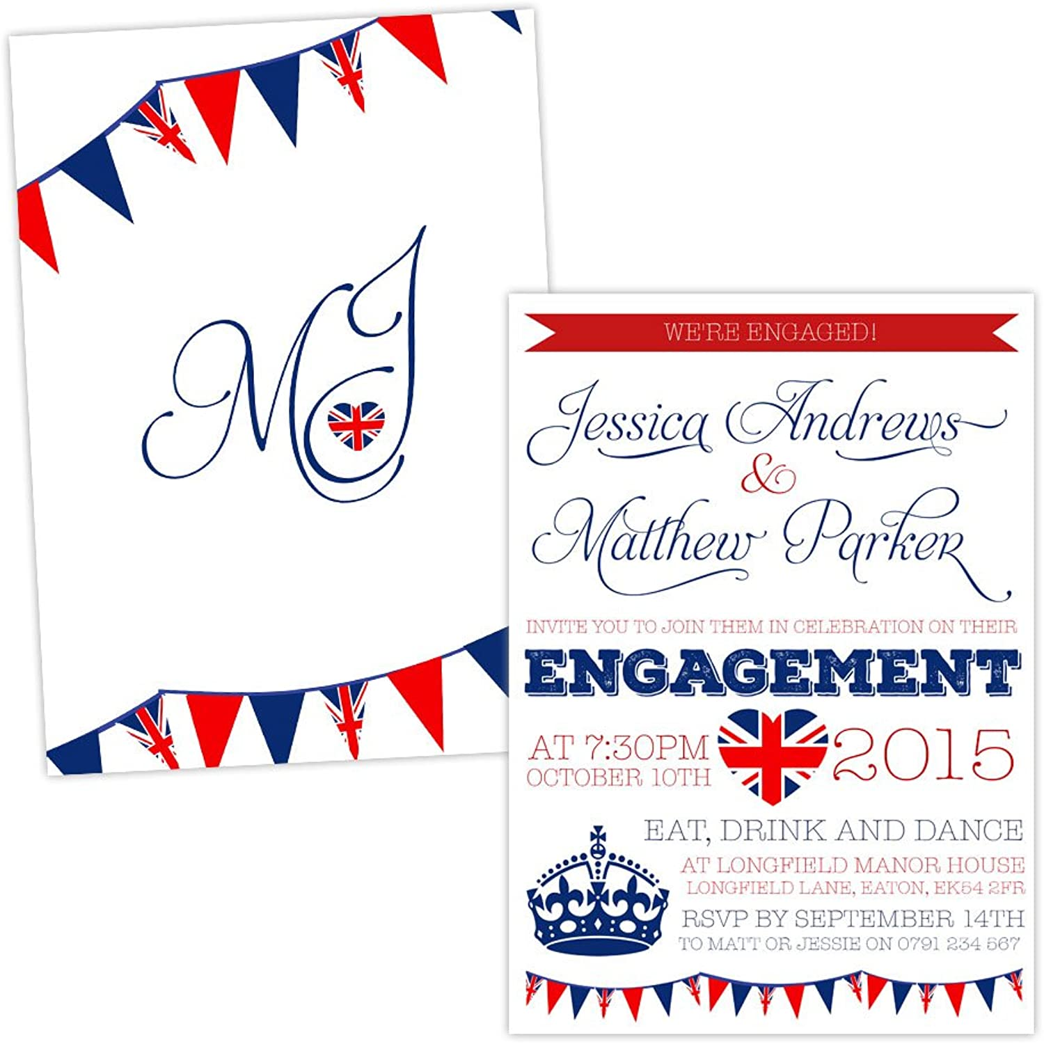 Personalised engagement party invitations BRITISH RETRO FREE DRAFT & FREE ENVELOPES (100, A6 singlesided White Fleck card)