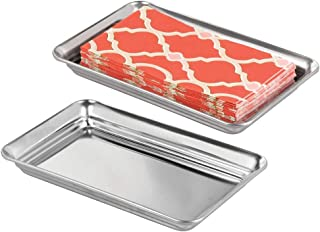 mDesign Metal Storage Organizer Tray for Bathroom Vanity Countertops, Closets, Dressers - Holder for Watches, Earrings, Makeup Brushes, Reading Glasses, Perfume, Guest Hand Towels - 2 Pack - Polished
