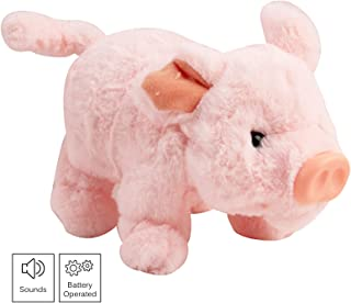 Vokodo Playful Piggy Walks Makes Sounds Wiggles Nose and Wags Tail Interactive Pig Kids Soft Cuddly Electronic Pet Battery Operated Animal Toys Great Gift for Preschool Children Boys Girls Toddlers
