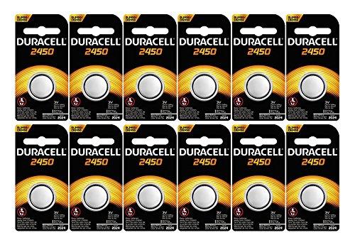12-Pack Duracell 2450 Batteries 3.0 Volt Lithium Coin Button