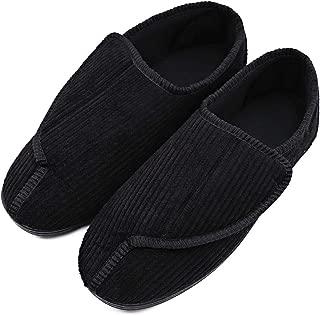 Mens Diabetic Slippers Adjustable House House Warm Plush Fleece Comfortable Non-Skid Relief for Wide Swollen Feet, Elderly, Diabetes, Swelling, Edema, Arthritis, Neuropathy