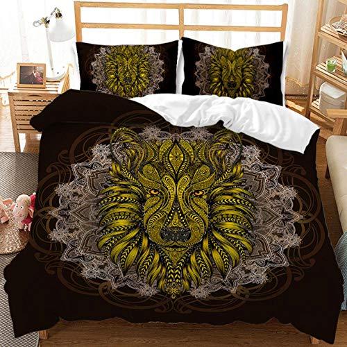 YHHAW Duvet Cover Sets,3D mandala abstract golden floral animal pattern Print,Soft Microfiber duvet sets pillowcase,3 Pieces (1 Duvet Cover + 2 Pillow cases) Bedding Sets-Double 200x200cm