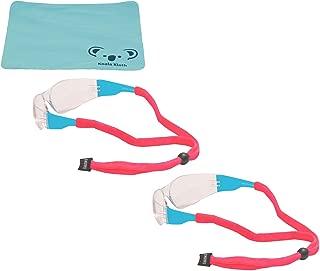 Chums Original Cotton Eyewear Retainer Sunglass Strap   Adjustable Eyeglass & Sports Glasses Holder Keeper Lanyard   2pk Bundle + Cloth, Pink