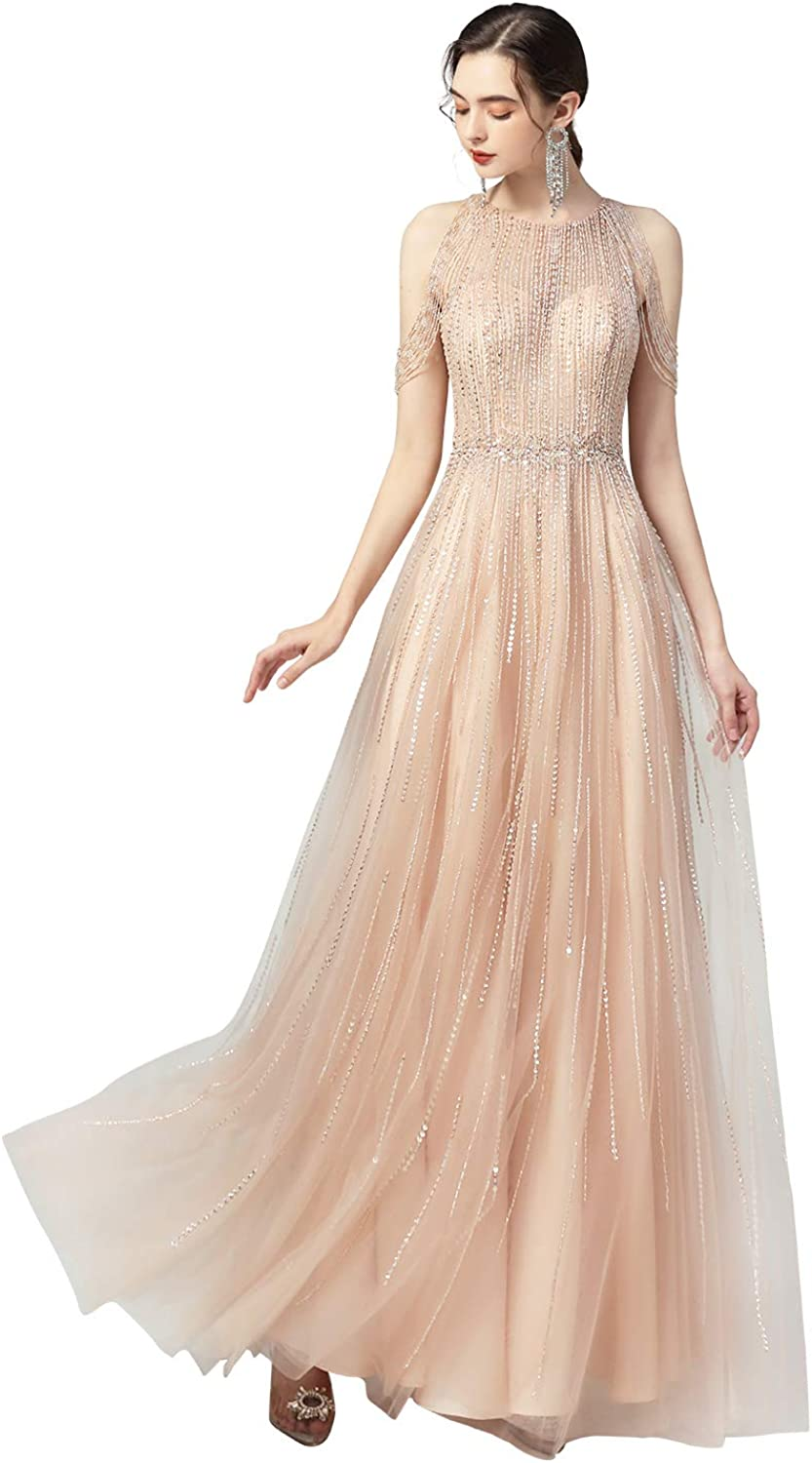 Sarahbridal Women's Beading Sequin Prom Dresses Crsyt Limited Special Price Long Party All items free shipping