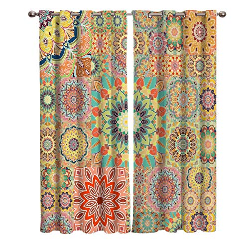 Blackout Curtains Window Treatment Curtain Unique Chic Bohemian Boho Floral Paisley Design Room Darkening Thermal Insulated Drapes for Living Room Bedroom 52x63 Inch x2 Panels