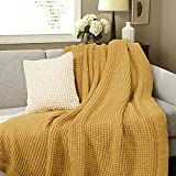 Amélie Home Soft Cozy Chunky Knit Throw Blankets with Ruffled Fringe, Breathable Waffle Weave Knit Blanket for Couch Sofa Bed (Yellow, 50 x 60'')