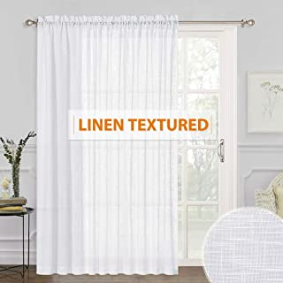 RYB HOME White Sheer Curtains - Linen Sheer Curtain Large Window Privacy Semi Sheer for Living Room Dining Bedroom Patio S...