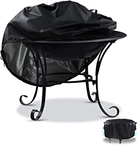 Rilime Patio Fire Pit Cover Round 22D x 22H Inch, Outdoor Heavy-Duty Garden Windproof Fire Bowl Cover with Handles Airvents & Drawstring (Round: 22