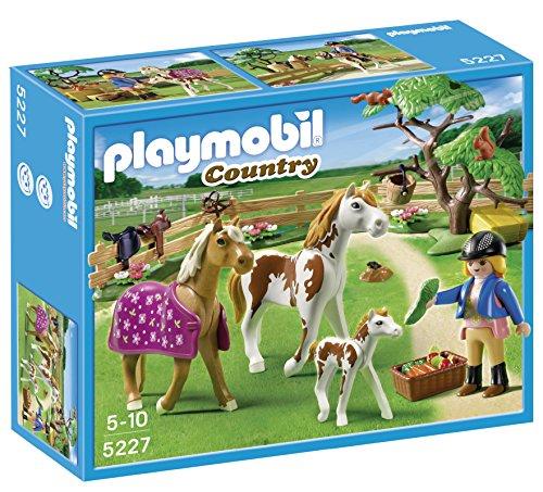 PLAYMOBIL - Cuidadora con Caballos, Set de Juego (5227)