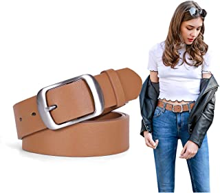Women Brown PU Leather Belt Waist Belt for Jeans