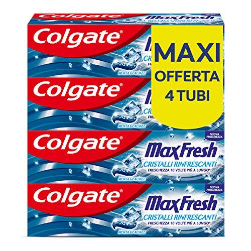 Colgate Dentifricio Max Fresh Cristalli Rinfrescanti, Freschezza 10 Volte a Lungo, Menta Glaciale, 4 x 75 ml