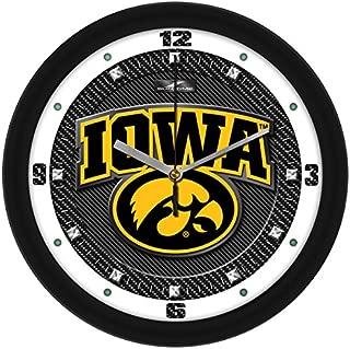 SunTime NCAA Iowa Hawkeyes Textured Carbon Fiber Wall Clock