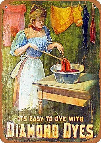 Diamond Dyes Retro Tin Sign for Club Bar Cafe Home Wall Decor 8x12 Inch