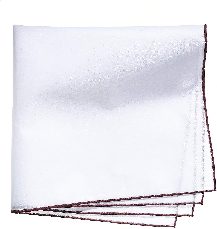 Lehner Switzerland Men's Fancy Woven White Cotton Handkerchief Red Hand Rolled Hem
