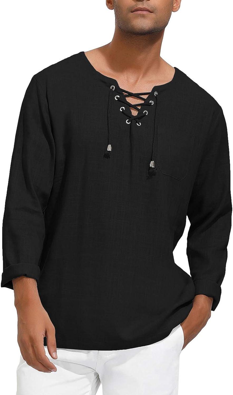 PJ PAUL JONES Mens Fashion T Casual Hippi Linen Cotton OFFer Shirt Tee 5% OFF