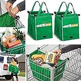 BrilliantJo, borsa per la spesa portatile, confezione da 2 pezzi, borsa per la spesa, riutilizzabile, per alimenti, pieghevole, verde, 37 x 37 x 25 cm