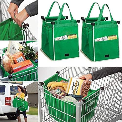 Tragbar Shoppingtasche, 2er pack Einkaufstasche für der Wahnsinn, BrilliantJo Einkaufswagen Tasche wiederverwendbar Lebensmittels faltbar Tragetasche Grün 37 * 37 * 25cm
