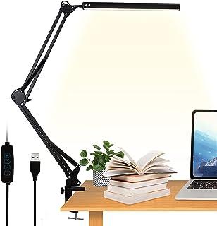 VEHHE LED Desk Lamp with Clamp, Eye-Caring Swing Arm Desk Light for Study, 3 Color Modes 10 Adjustable Brightness Levels M...