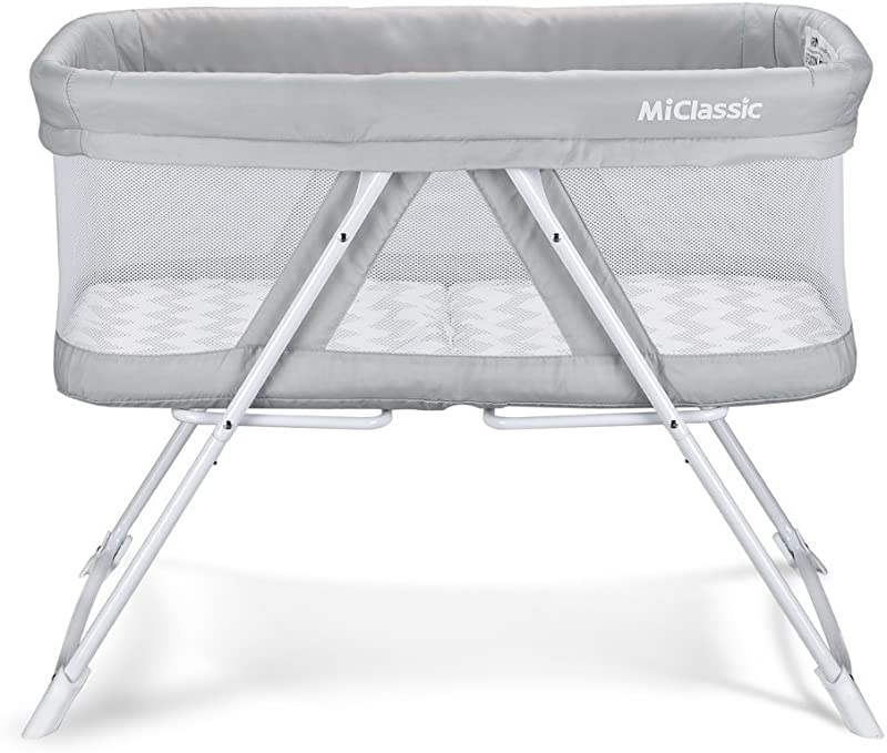 2in1 Stationary Rock Mode Bassinet One Second Fold Travel Crib Portable Newborn Baby Gray