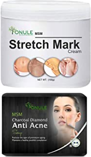Ionule MSM Stretch Mark Cream with Charcoal Anti Acne Soap for Men and Women Combo Pack of 2 - (2 X 90 gm)