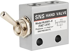 3 Position 2 Port Air Pneumatic Knob Switch Valve HL2301 Metal Toggle Switch Pneumatic Mechanical Valve Pack of 1