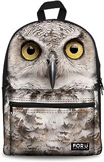HUGS IDEA Cool White Owl Printed Kids School Book Bag Outdoor Travel Backpack for Men