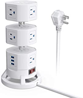 BESTEK 3-Tier Stackable 12 Outlets Power Strip Tower Electric Charging Station with 3 USB Ports for PC Laptop Mobiles,6 Feet Extension Cord,White