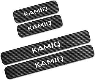AEVEILS 4PCS Kohlefaser Auto Einstiegsleisten Türschweller Für Skoda Kamiq, Willkommen Pedal Scuff Threshold Bar Schutzaufkleber Streifen Plate Protector