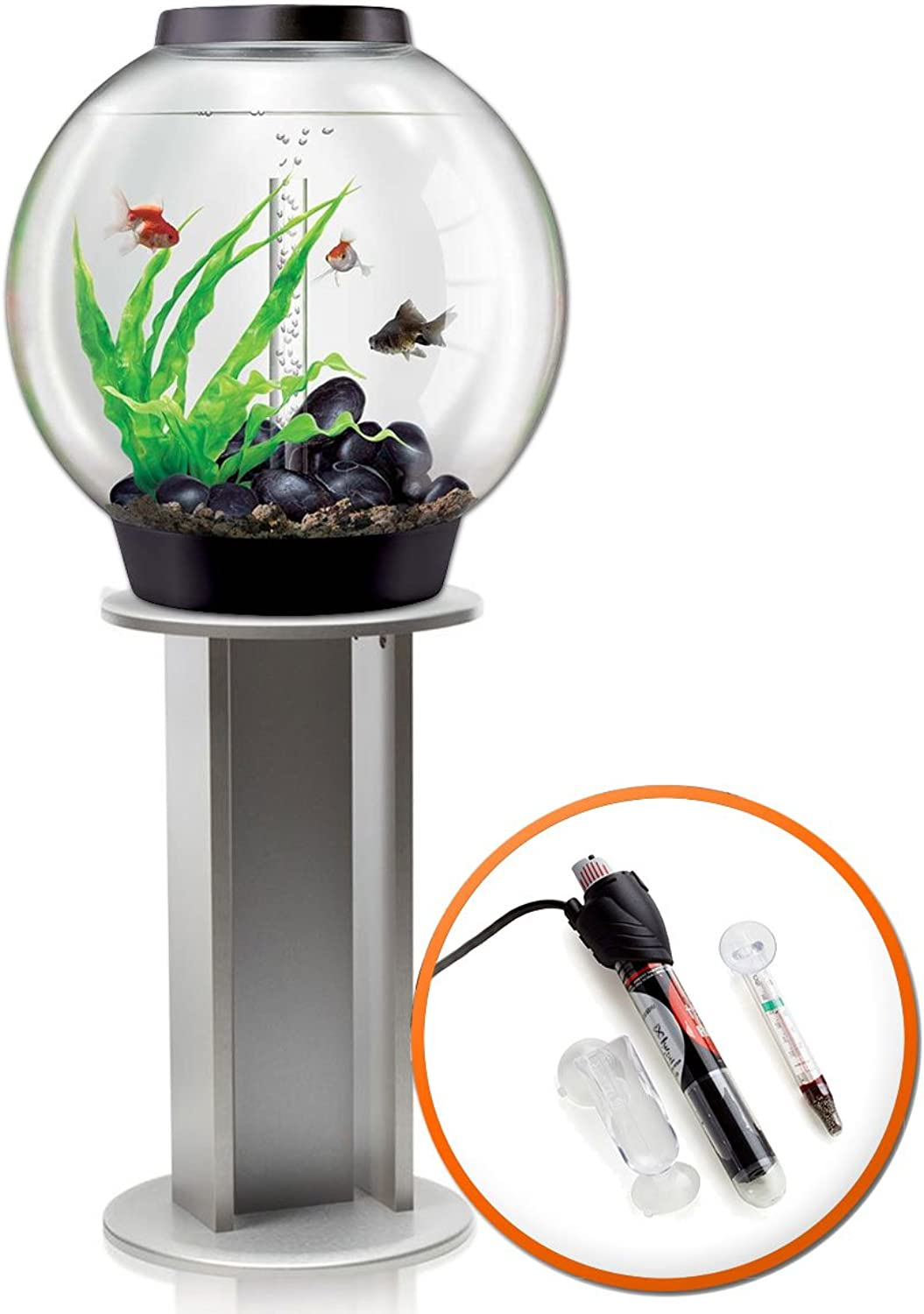 BiOrb Classic 60L Tropical Aquarium in Black with Standard LED Lighting & Silver Stand