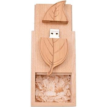 Memoria USB 16GB Pendrive Hoja de Madera Divertido Pen Drive 16 GB con Caja de Regalo de Madera Práctico Unidad Flash USB Almacenamiento para Regalo de Cumpleaños Llave USB 2.0 by FEBNISCTE: