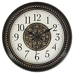 Ashton Sutton Quartz Analog Wall Clock, 16-Inch, 2D Medallion Center Dial, Black Arabic Number, Antique Bronze Plastic Case, Black Hands