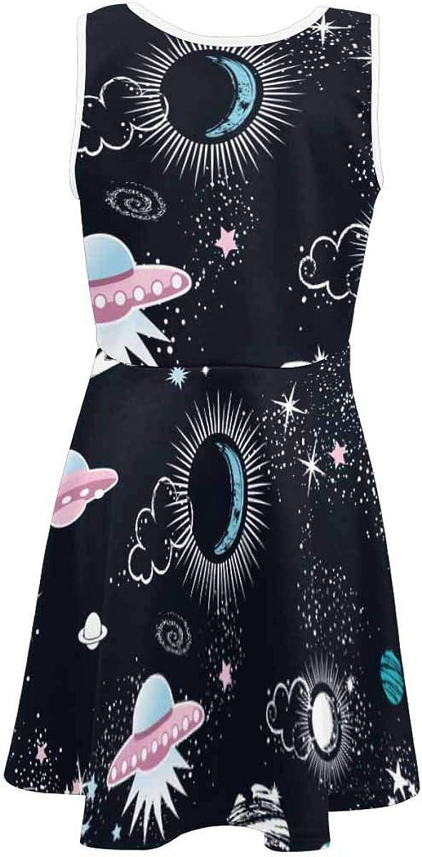 INTERESTPRINT Girls Sleeveless Summer Casual Swing Dresses School Party Beach 4-13 Years Space Galaxy Constellation 6T
