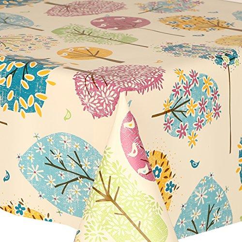 Mantel de PVC de 3 metros (300 cm x 140 cm), diseño de pájaros y hojas de flores, multicolor, verde, marrón, azul, rosa, amarillo, blanco roto, se limpia con un paño, vinilo/plástico