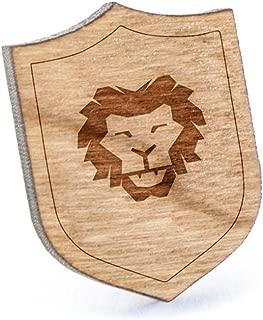 Lion Head Lapel Pin, Wooden Pin