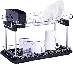 $23 » Chrome-plated Steel 2-Tier Dish Rack, Cutting Board Holder, Drainboard and Dish Drainer for Kitchen Chrome Organizer