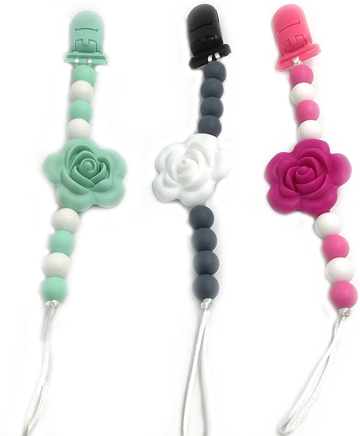 Amyster 3pcs Baby Silicone Teether Beads Flower Shaped Silicone Baby Pacifier Clip Toodler BPA FreeFood Grade Silicone Beads EcoFriendly DIY Baby Teether Toy (color 31)