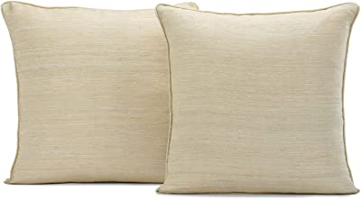 HPD Half Price Drapes SSRW-LF935-CC18PR Raw Silk Cushion Covers - Pair (2 Pieces), 18 X 18, Cancun Sand