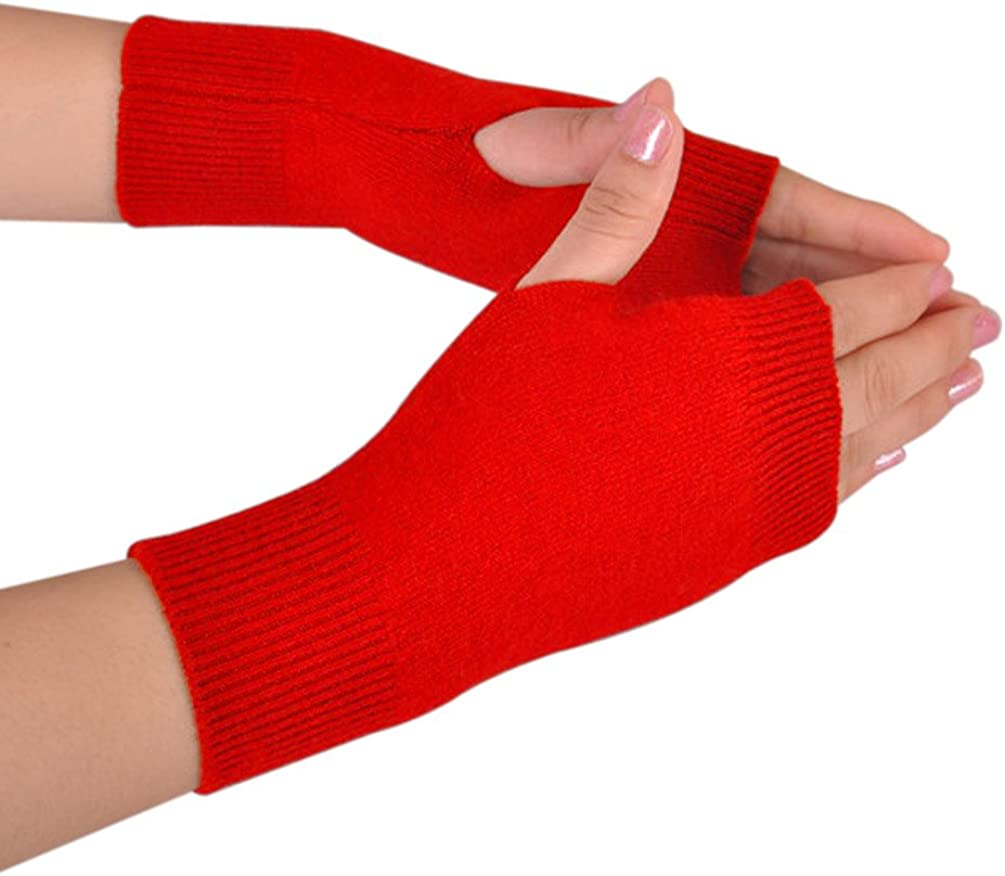 NOVAWO Cashmere Blend Fingerless Gloves Soft Warm Arm Warm Gloves