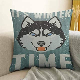 Alaskan Malamute Silky Pillowcase Its Winter Time Retro Poster Dog Face Falling Snowflakes Super Soft and Luxurious Pillowcase W24 x L24 Inch Slate Blue Black White
